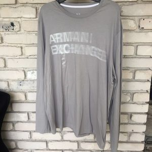 Armani exchange gray long sleeve shirt.   …